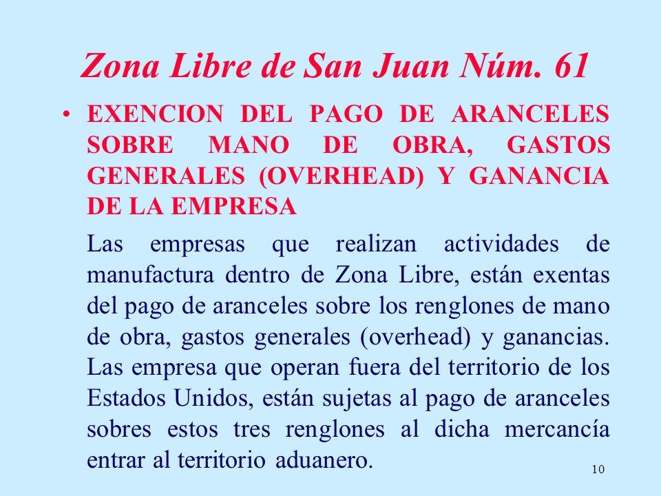 10 Zona Libre de San Juan Núm. 61 EXENCION DEL PAGO DE ARANCELES SOBRE MANO DE OBRA, GASTOS GENERALES (OVERHEAD) Y GANANCIA DE LA EMPRESA Las empresas