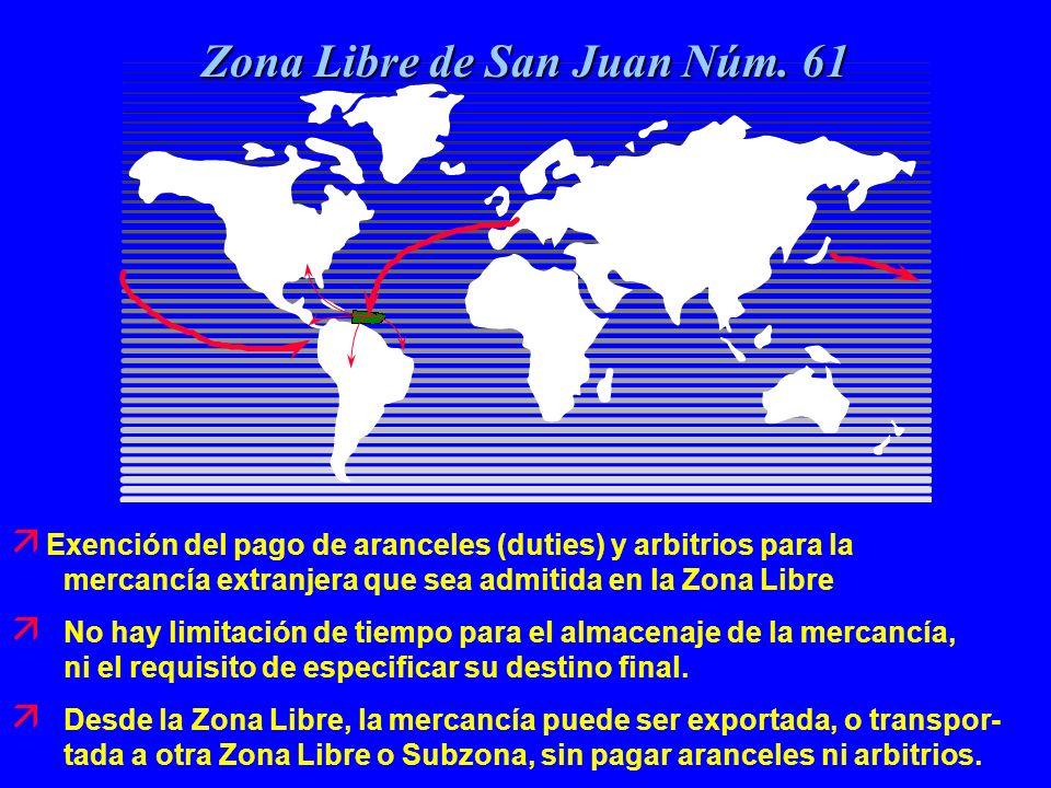ä Exención del pago de aranceles (duties) y arbitrios para la mercancía extranjera que sea admitida en la Zona Libre ä No hay limitación de tiempo par