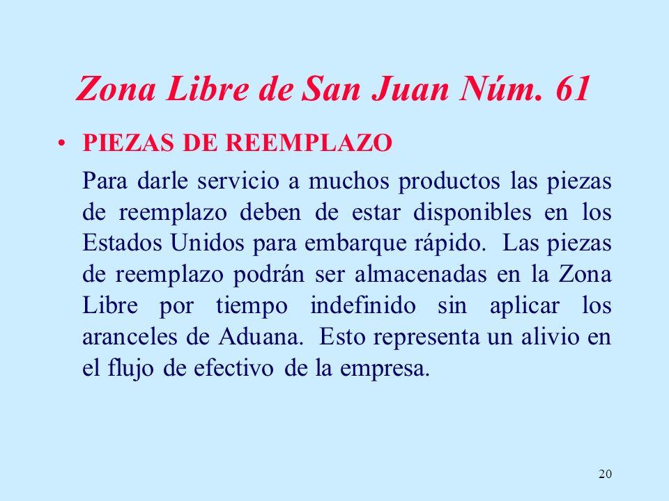20 Zona Libre de San Juan Núm. 61 PIEZAS DE REEMPLAZO Para darle servicio a muchos productos las piezas de reemplazo deben de estar disponibles en los
