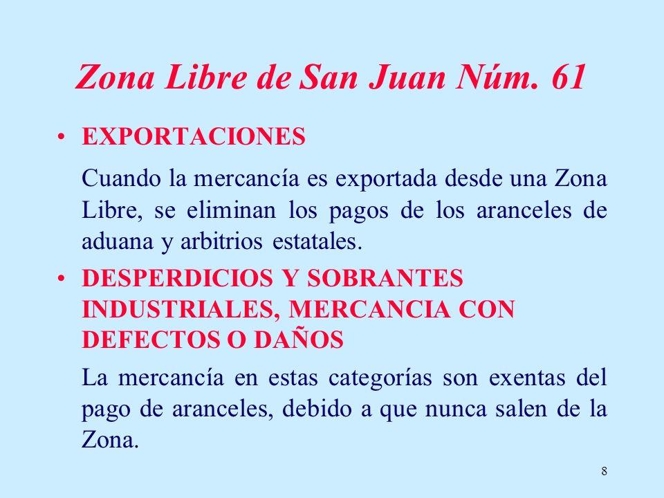 8 Zona Libre de San Juan Núm. 61 EXPORTACIONES Cuando la mercancía es exportada desde una Zona Libre, se eliminan los pagos de los aranceles de aduana