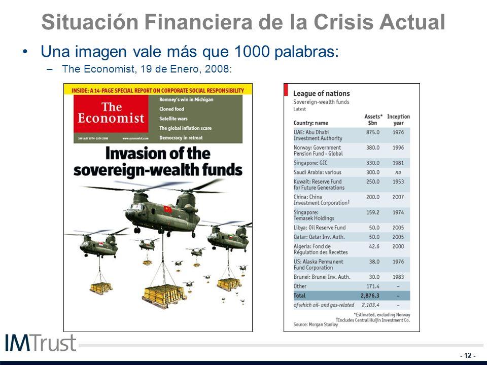 - 12 - Situación Financiera de la Crisis Actual Una imagen vale más que 1000 palabras: –The Economist, 19 de Enero, 2008: