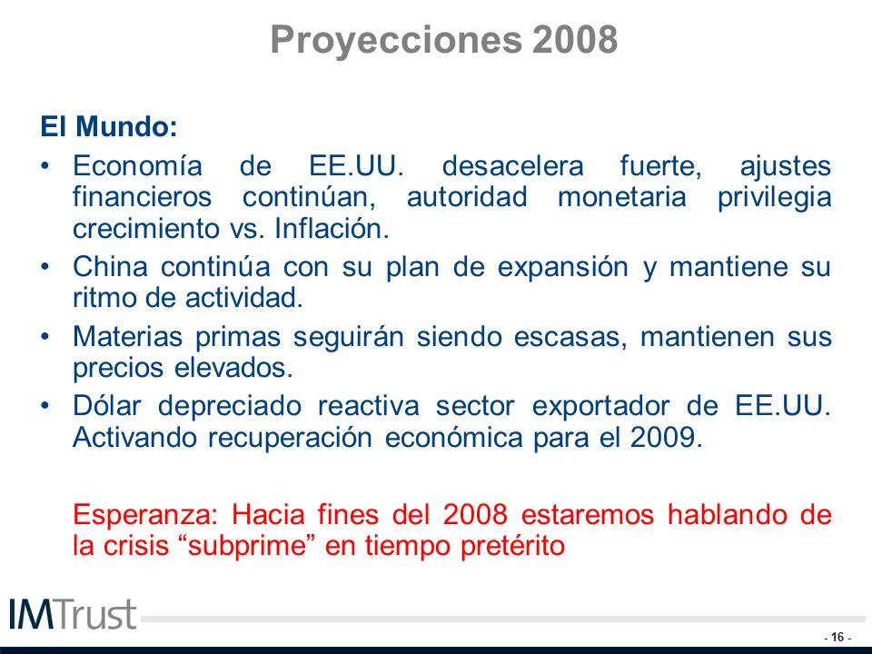 - 16 - Proyecciones 2008 El Mundo: Economía de EE.UU. desacelera fuerte, ajustes financieros continúan, autoridad monetaria privilegia crecimiento vs.