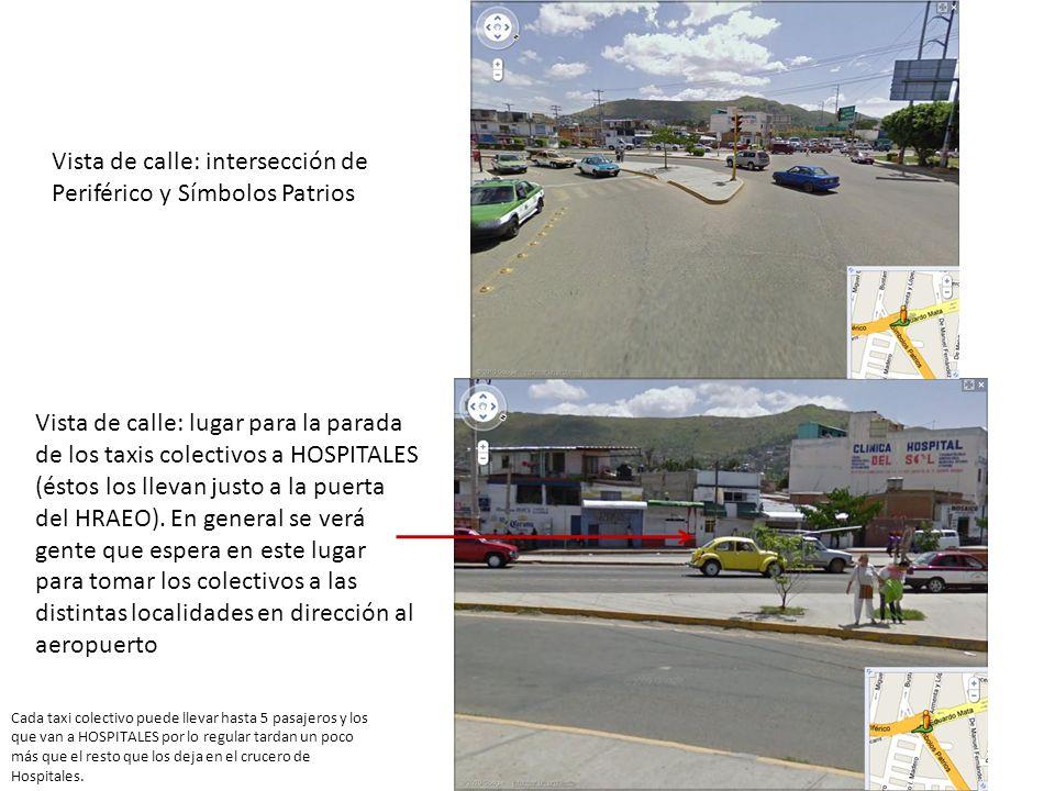 Vista de calle: intersección de Periférico y Símbolos Patrios Vista de calle: lugar para la parada de los taxis colectivos a HOSPITALES (éstos los lle