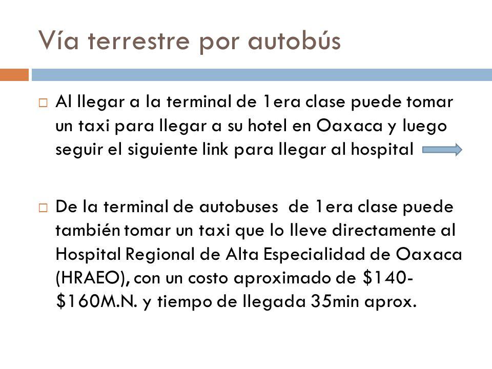 Vía terrestre por autobús Al llegar a la terminal de 1era clase puede tomar un taxi para llegar a su hotel en Oaxaca y luego seguir el siguiente link