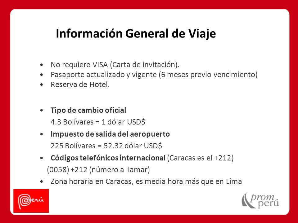 Información General de Viaje No requiere VISA (Carta de invitación). Pasaporte actualizado y vigente (6 meses previo vencimiento) Reserva de Hotel. Ti