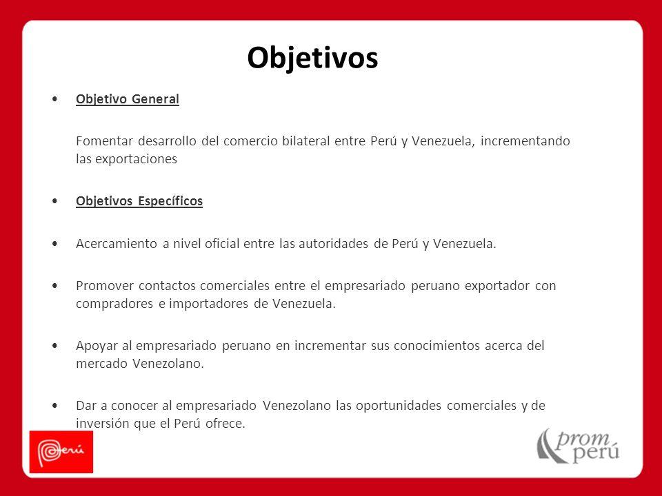 Objetivo General Fomentar desarrollo del comercio bilateral entre Perú y Venezuela, incrementando las exportaciones Objetivos Específicos Acercamiento