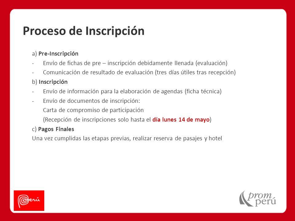 Proceso de Inscripción a) Pre-Inscripción -Envío de fichas de pre – inscripción debidamente llenada (evaluación) -Comunicación de resultado de evaluac