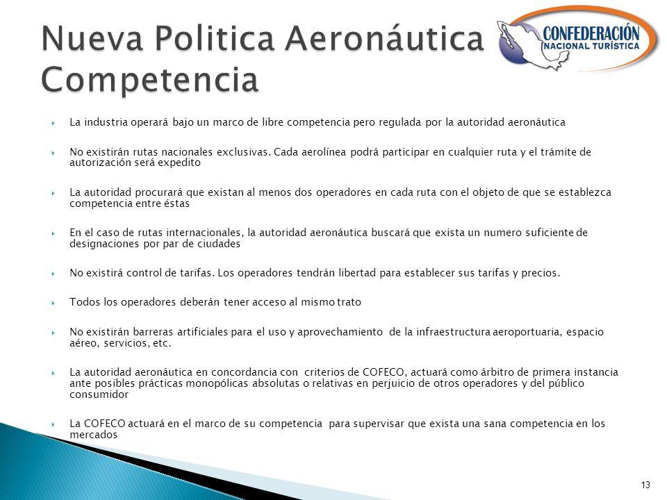 La industria operará bajo un marco de libre competencia pero regulada por la autoridad aeronáutica No existirán rutas nacionales exclusivas.