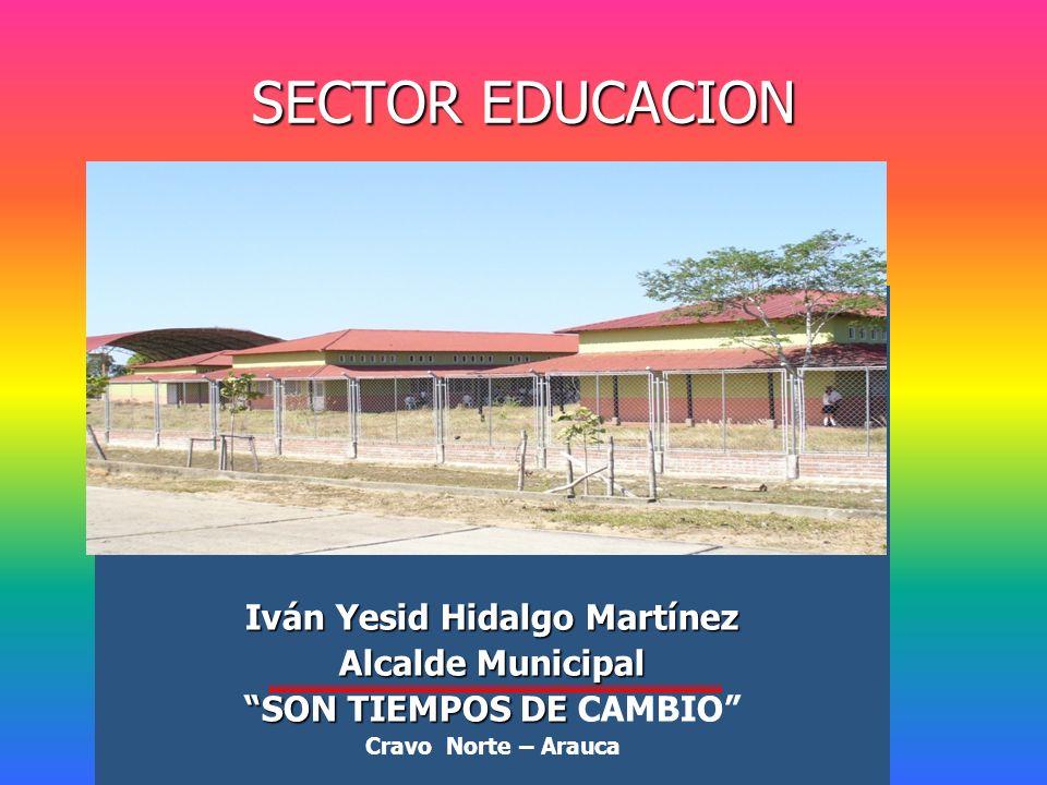 SECTOR EDUCACION Iván Yesid Hidalgo Martínez Alcalde Municipal SON TIEMPOS DE SON TIEMPOS DE CAMBIO Cravo Norte – Arauca