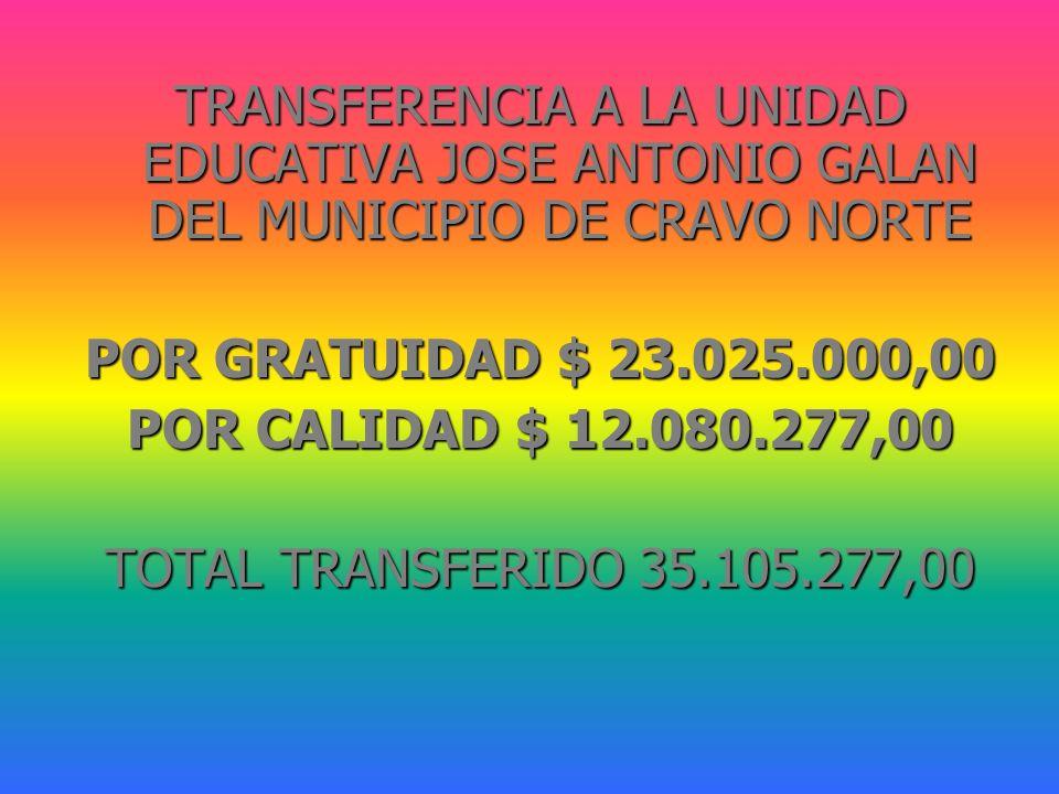 TRANSFERENCIA A LA UNIDAD EDUCATIVA JOSE ANTONIO GALAN DEL MUNICIPIO DE CRAVO NORTE POR GRATUIDAD $ 23.025.000,00 POR CALIDAD $ 12.080.277,00 TOTAL TR