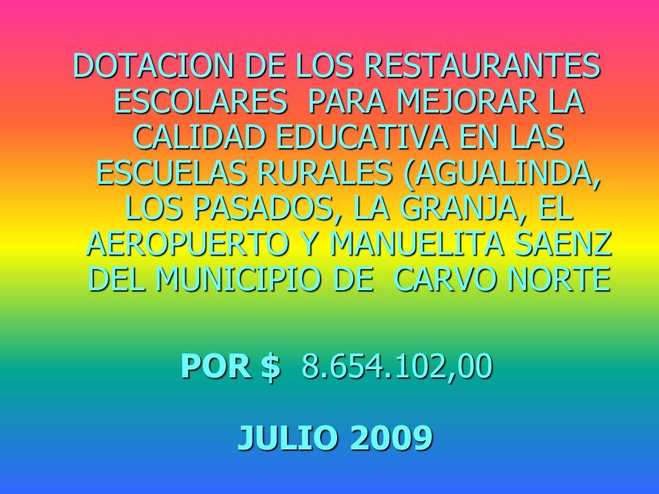 DOTACION DE LOS RESTAURANTES ESCOLARES PARA MEJORAR LA CALIDAD EDUCATIVA EN LAS ESCUELAS RURALES (AGUALINDA, LOS PASADOS, LA GRANJA, EL AEROPUERTO Y MANUELITA SAENZ DEL MUNICIPIO DE CARVO NORTE POR $ 8.654.102,00 JULIO 2009