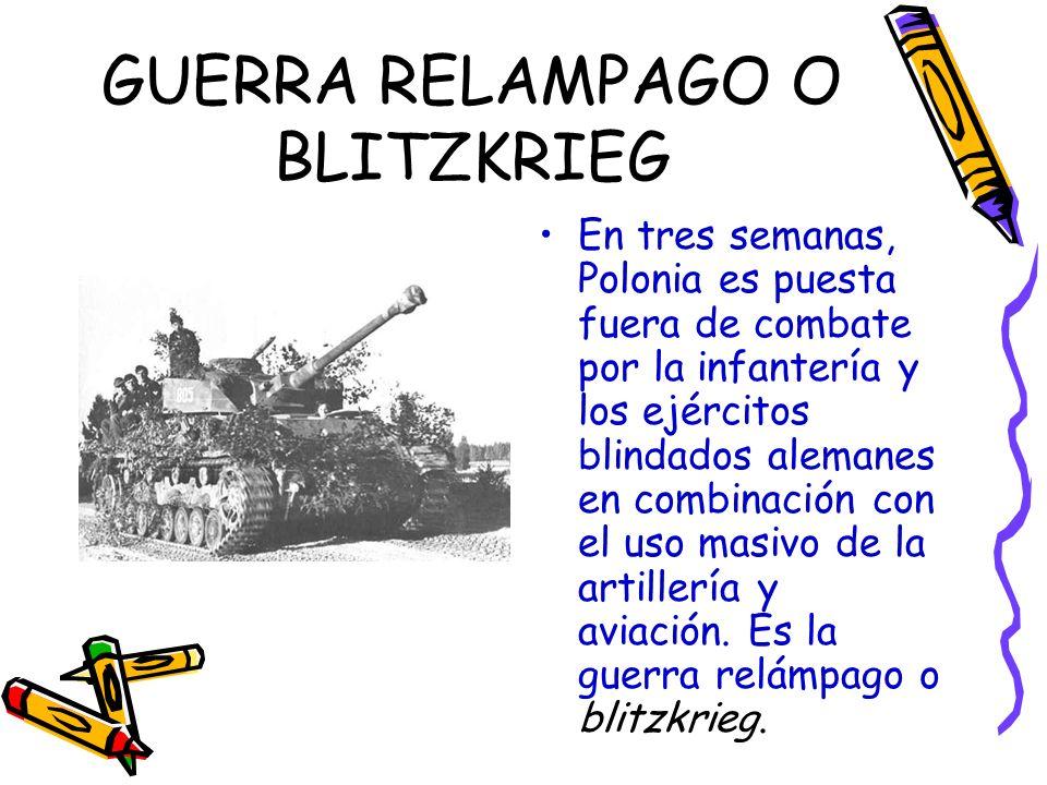 GUERRA RELAMPAGO O BLITZKRIEG En tres semanas, Polonia es puesta fuera de combate por la infantería y los ejércitos blindados alemanes en combinación