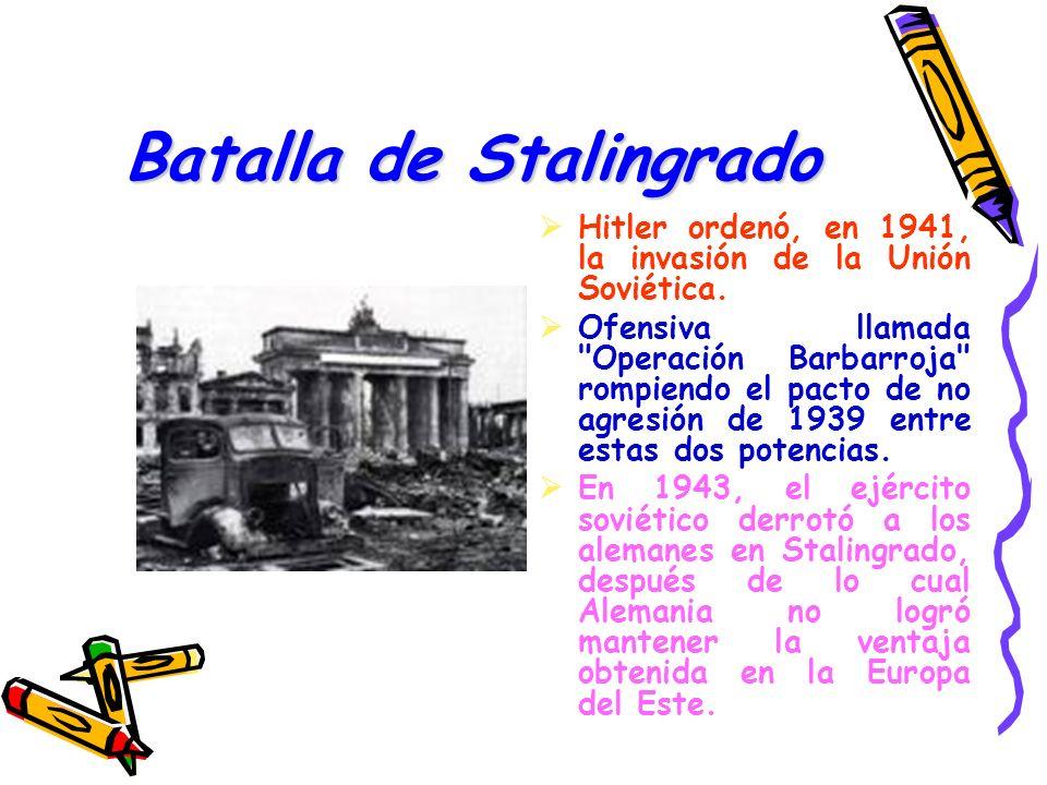 Batalla de Stalingrado Hitler ordenó, en 1941, la invasión de la Unión Soviética. Ofensiva llamada