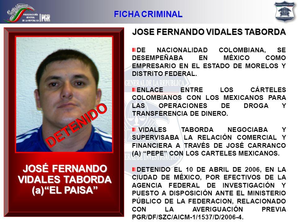 JOSE FERNANDO VIDALES TABORDA DE NACIONALIDAD COLOMBIANA, SE DESEMPEÑABA EN MÉXICO COMO EMPRESARIO EN EL ESTADO DE MORELOS Y DISTRITO FEDERAL. ENLACE