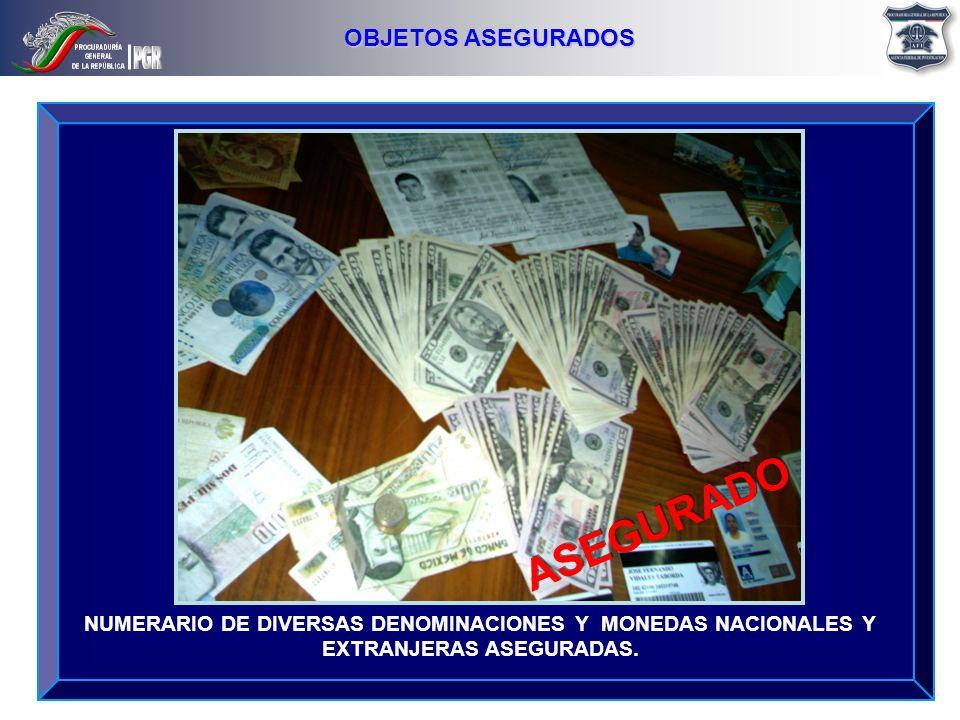 NUMERARIO DE DIVERSAS DENOMINACIONES Y MONEDAS NACIONALES Y EXTRANJERAS ASEGURADAS. OBJETOS ASEGURADOS ASEGURADO