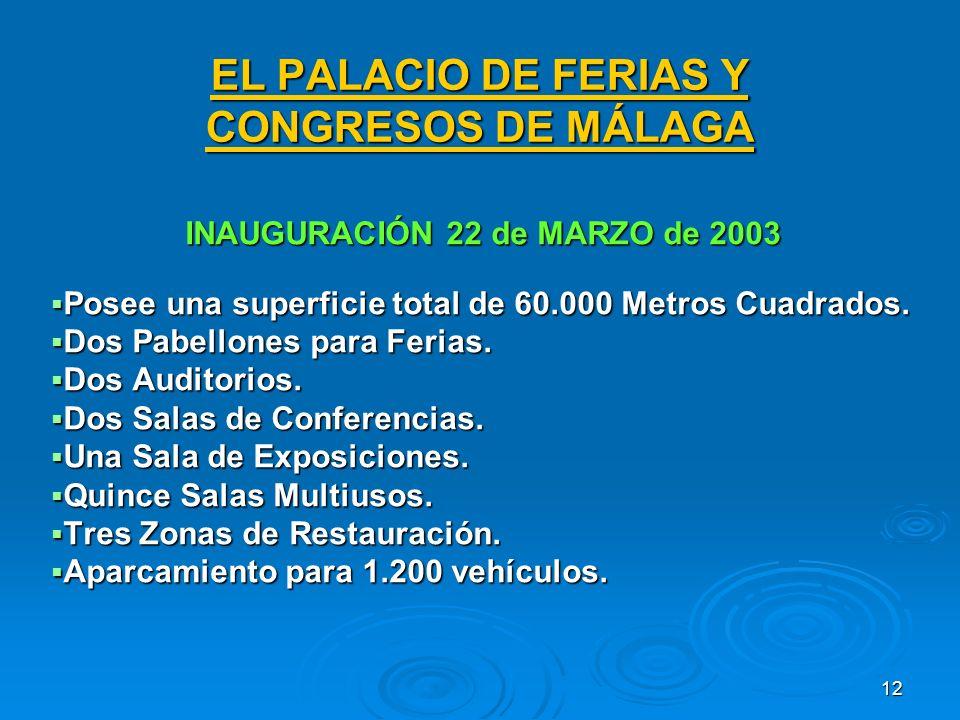 12 EL PALACIO DE FERIAS Y CONGRESOS DE MÁLAGA INAUGURACIÓN 22 de MARZO de 2003 Posee una superficie total de 60.000 Metros Cuadrados.