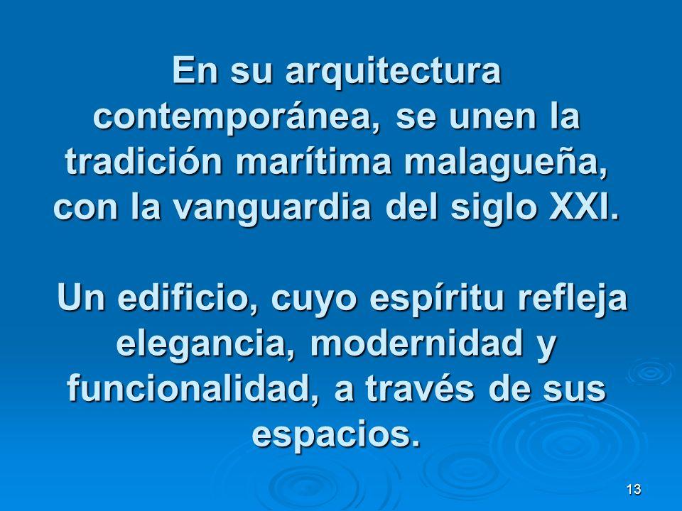 13 En su arquitectura contemporánea, se unen la tradición marítima malagueña, con la vanguardia del siglo XXI.