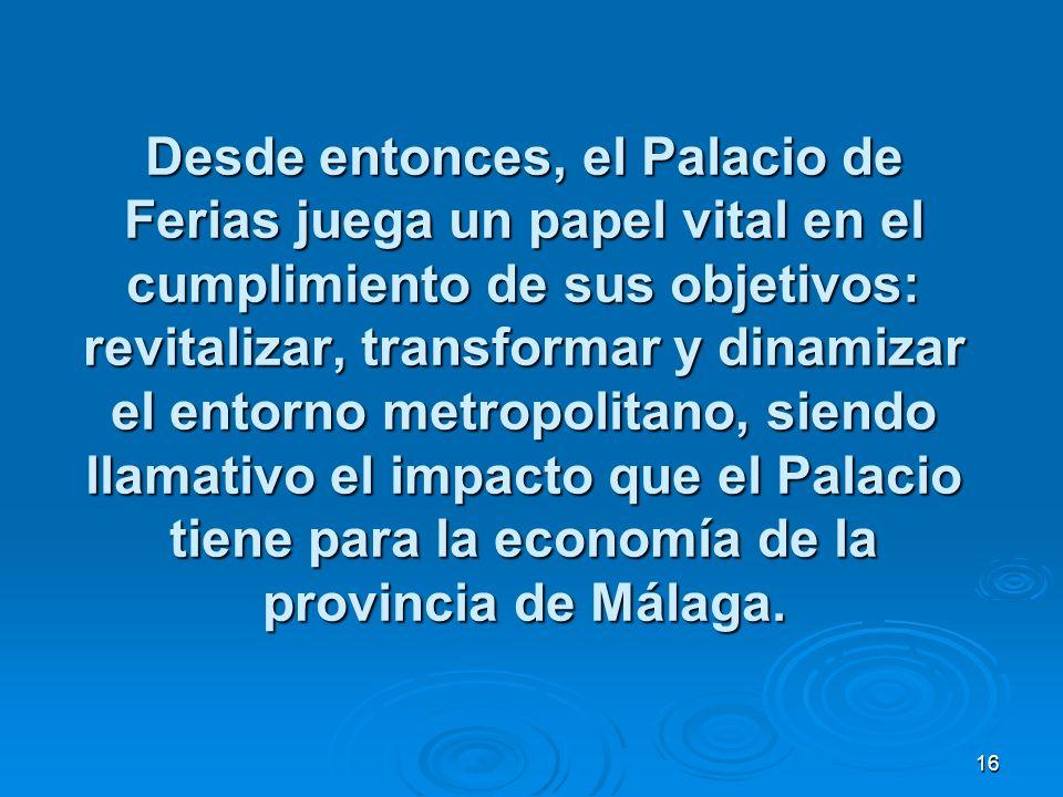 16 Desde entonces, el Palacio de Ferias juega un papel vital en el cumplimiento de sus objetivos: revitalizar, transformar y dinamizar el entorno metropolitano, siendo llamativo el impacto que el Palacio tiene para la economía de la provincia de Málaga.