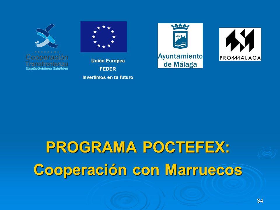 34 PROGRAMA POCTEFEX: Cooperación con Marruecos Unión Europea FEDER Invertimos en tu futuro