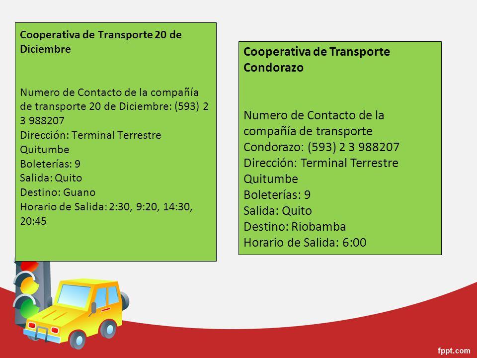 Cooperativa de Transporte 20 de Diciembre Numero de Contacto de la compañía de transporte 20 de Diciembre: (593) 2 3 988207 Dirección: Terminal Terres