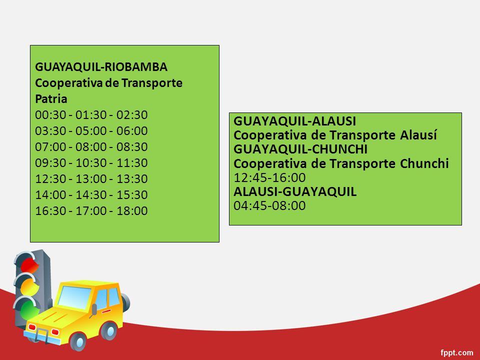 GUAYAQUIL-ALAUSI Cooperativa de Transporte Alausí GUAYAQUIL-CHUNCHI Cooperativa de Transporte Chunchi 12:45-16:00 ALAUSI-GUAYAQUIL 04:45-08:00 GUAYAQU
