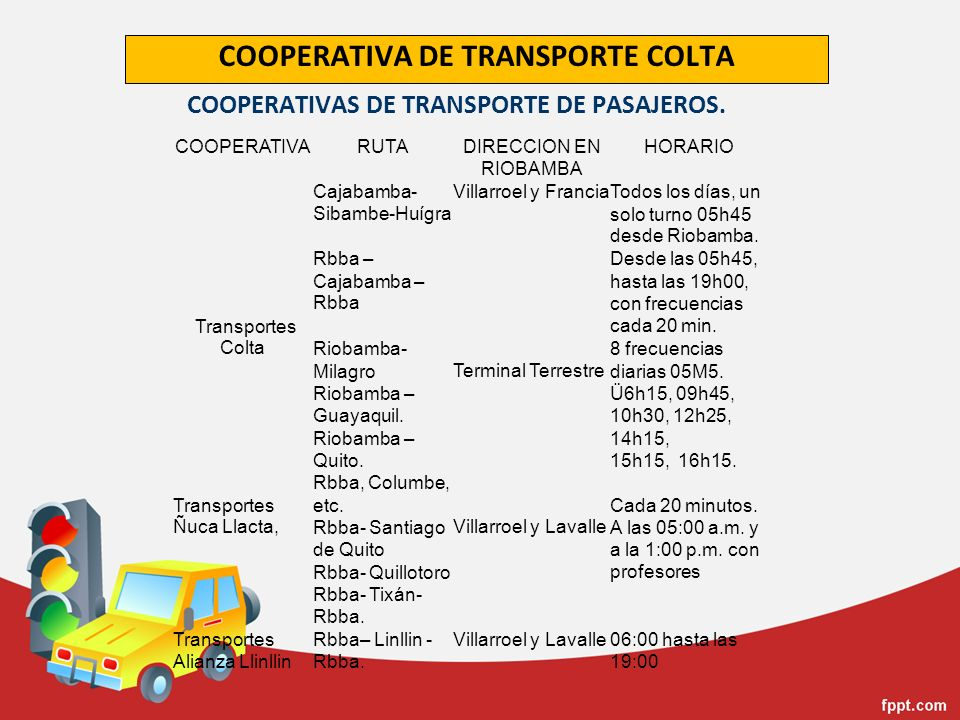 COOPERATIVA DE TRANSPORTE COLTA COOPERATIVARUTADIRECCION EN RIOBAMBA HORARIO Transportes Colta Cajabamba- Sibambe-Huígra Villarroel y FranciaTodos los