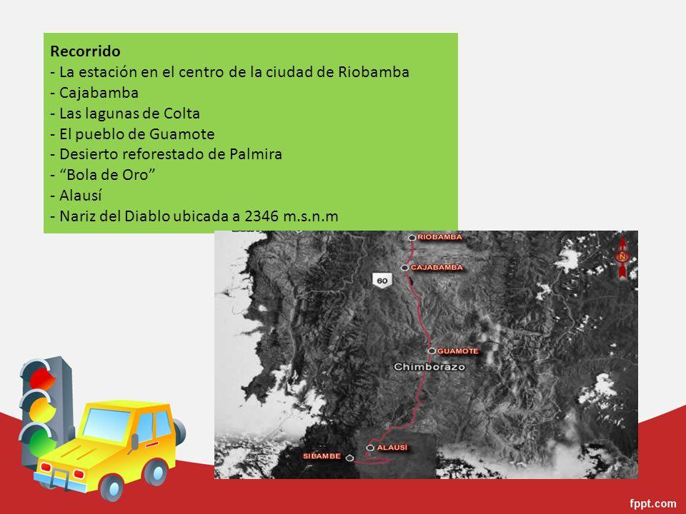 Recorrido - La estación en el centro de la ciudad de Riobamba - Cajabamba - Las lagunas de Colta - El pueblo de Guamote - Desierto reforestado de Palm