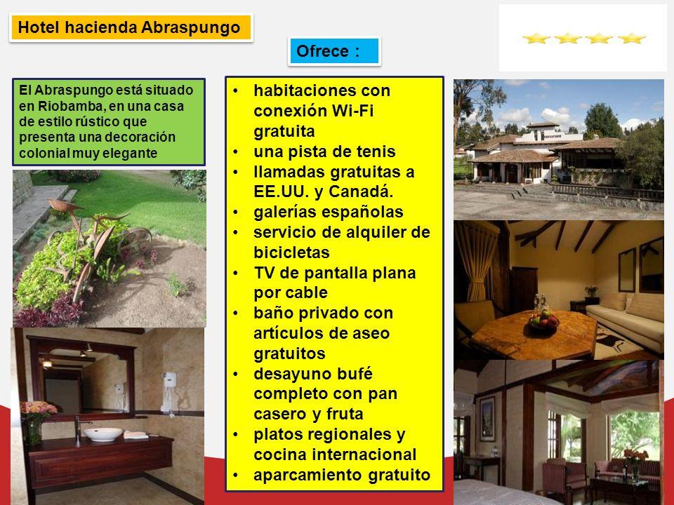 Hotel hacienda Abraspungo El Abraspungo está situado en Riobamba, en una casa de estilo rústico que presenta una decoración colonial muy elegante habi