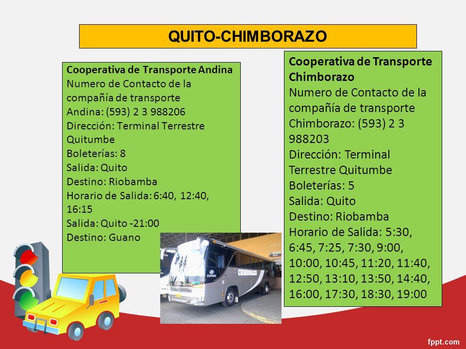 Cooperativa de Transporte Andina Numero de Contacto de la compañía de transporte Andina: (593) 2 3 988206 Dirección: Terminal Terrestre Quitumbe Bolet