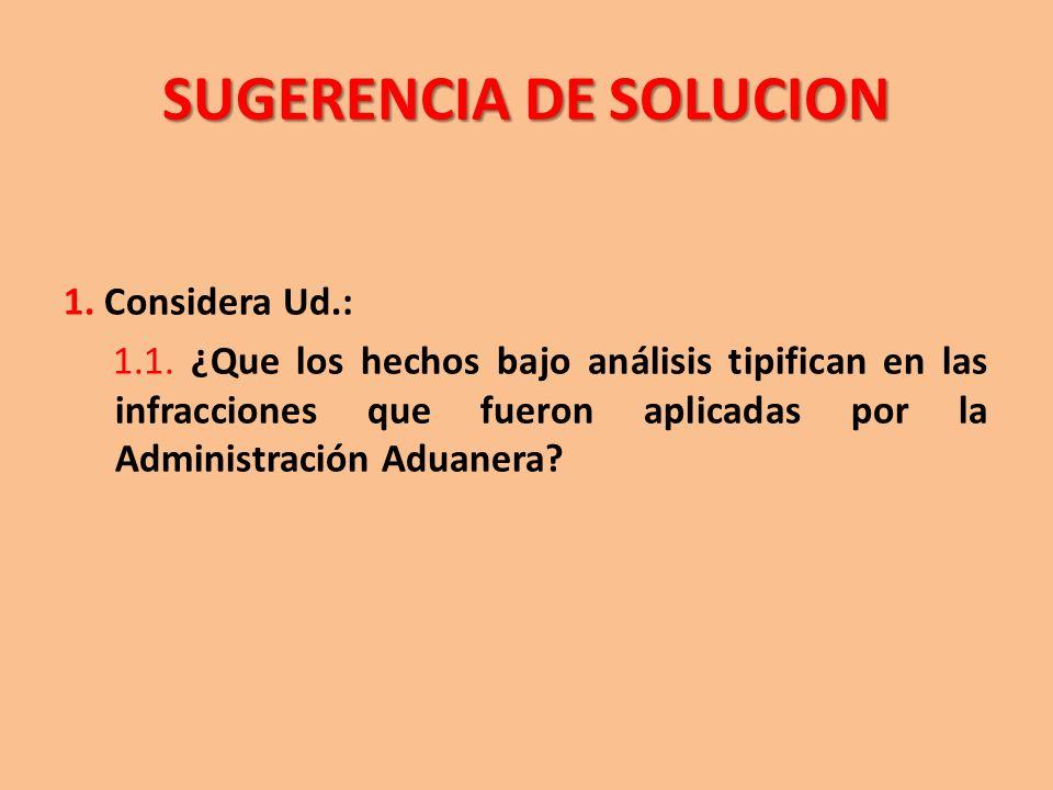 SUGERENCIA DE SOLUCION 1. Considera Ud.: 1.1. ¿Que los hechos bajo análisis tipifican en las infracciones que fueron aplicadas por la Administración A