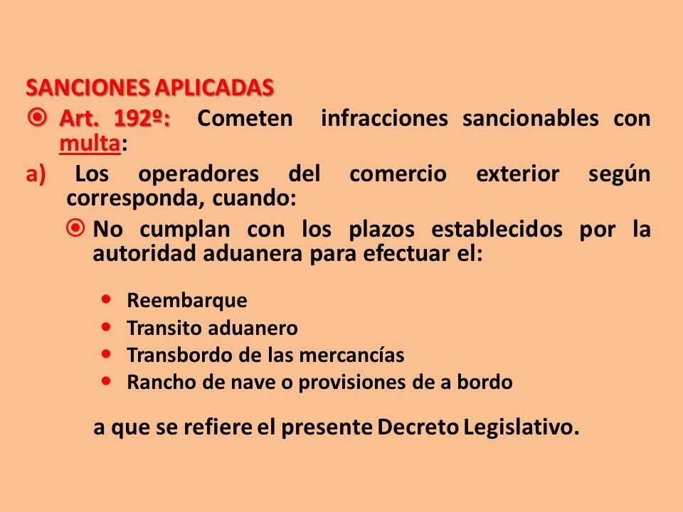 SANCIONES APLICADAS Art. 192º: Art. 192º: Cometen infracciones sancionables con multa: a) Los operadores del comercio exterior según corresponda, cuan