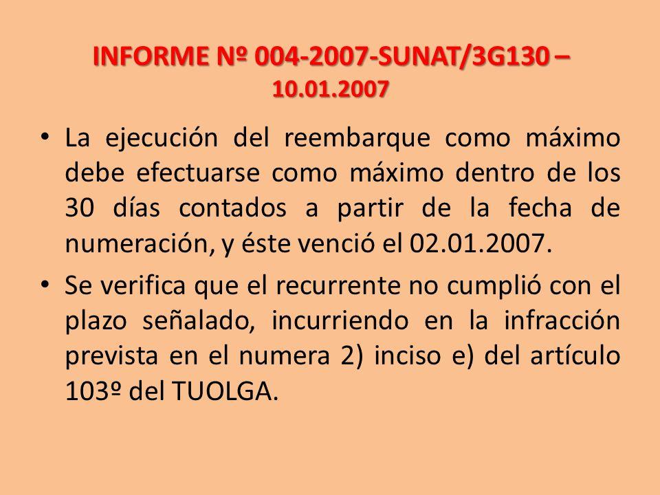 INFORME Nº 004-2007-SUNAT/3G130 – 10.01.2007 La ejecución del reembarque como máximo debe efectuarse como máximo dentro de los 30 días contados a part