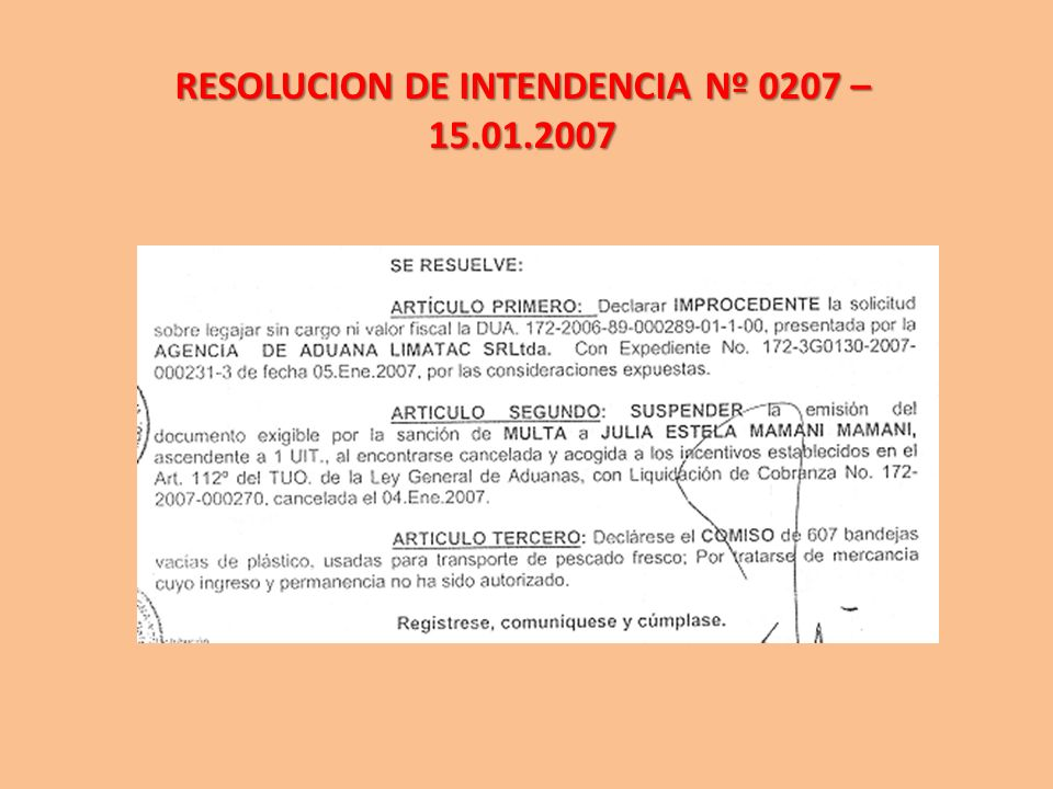 RESOLUCION DE INTENDENCIA Nº 0207 – 15.01.2007