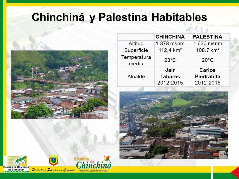 CHINCHINÁPALESTINA Altitud1.378 msnm1.630 msnm Superficie112,4 km²108.7 km² Temperatura media 23°C20°C Alcalde Jair Tabares 2012-2015 Carlos Piedrahita 2012-2015 Chinchiná y Palestina Habitables