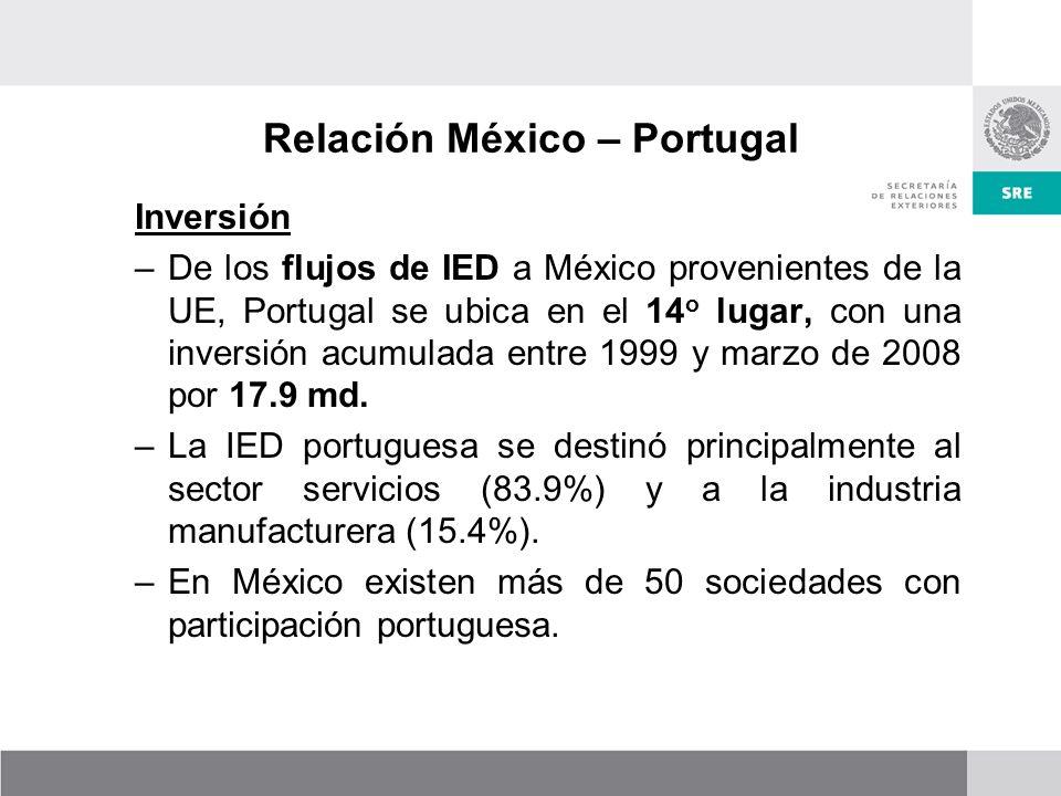Inversión –De los flujos de IED a México provenientes de la UE, Portugal se ubica en el 14 o lugar, con una inversión acumulada entre 1999 y marzo de 2008 por 17.9 md.