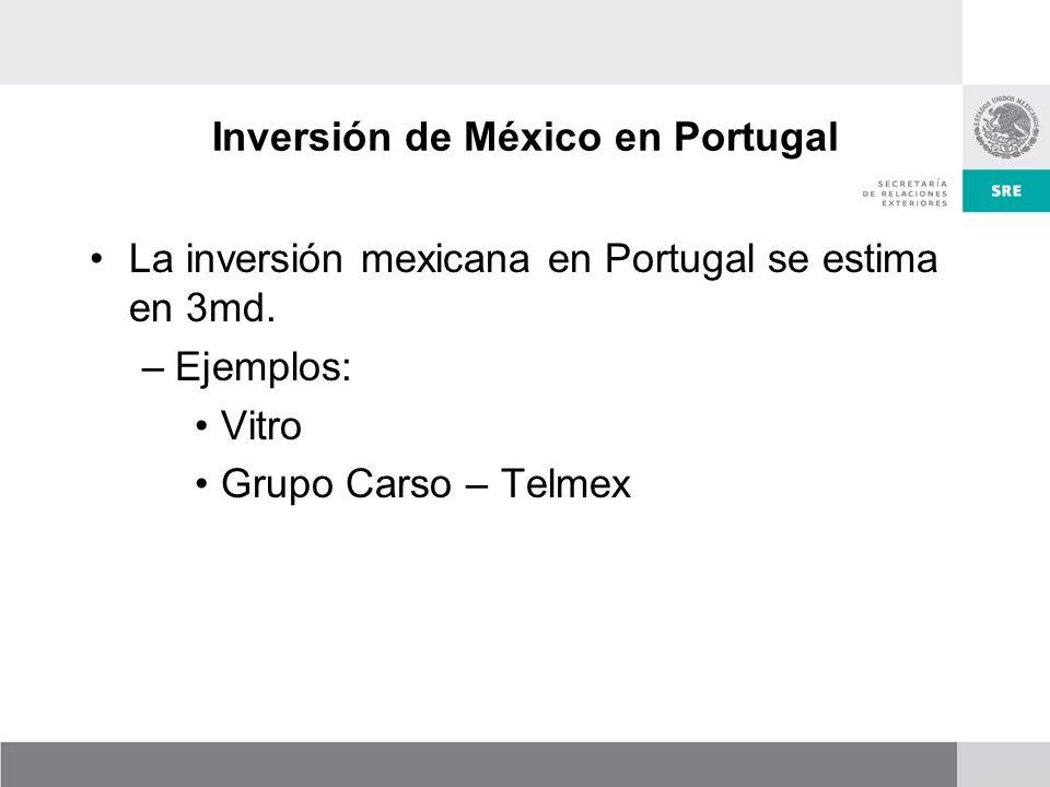 Inversión de México en Portugal La inversión mexicana en Portugal se estima en 3md.