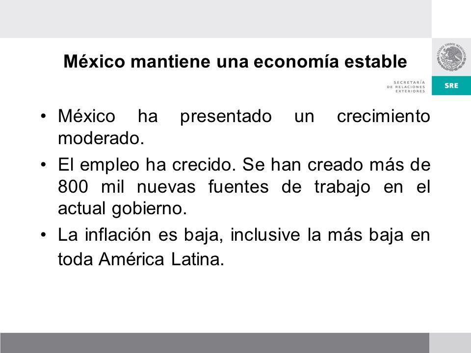 México mantiene una economía estable México ha presentado un crecimiento moderado.