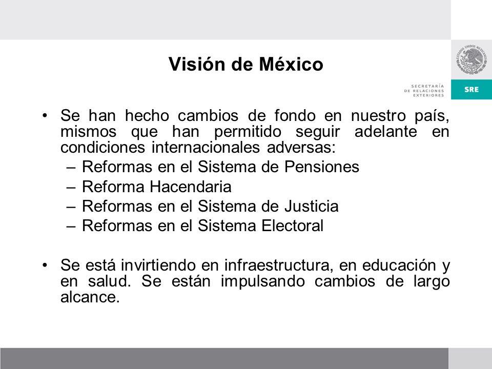 Visión de México Se han hecho cambios de fondo en nuestro país, mismos que han permitido seguir adelante en condiciones internacionales adversas: –Reformas en el Sistema de Pensiones –Reforma Hacendaria –Reformas en el Sistema de Justicia –Reformas en el Sistema Electoral Se está invirtiendo en infraestructura, en educación y en salud.