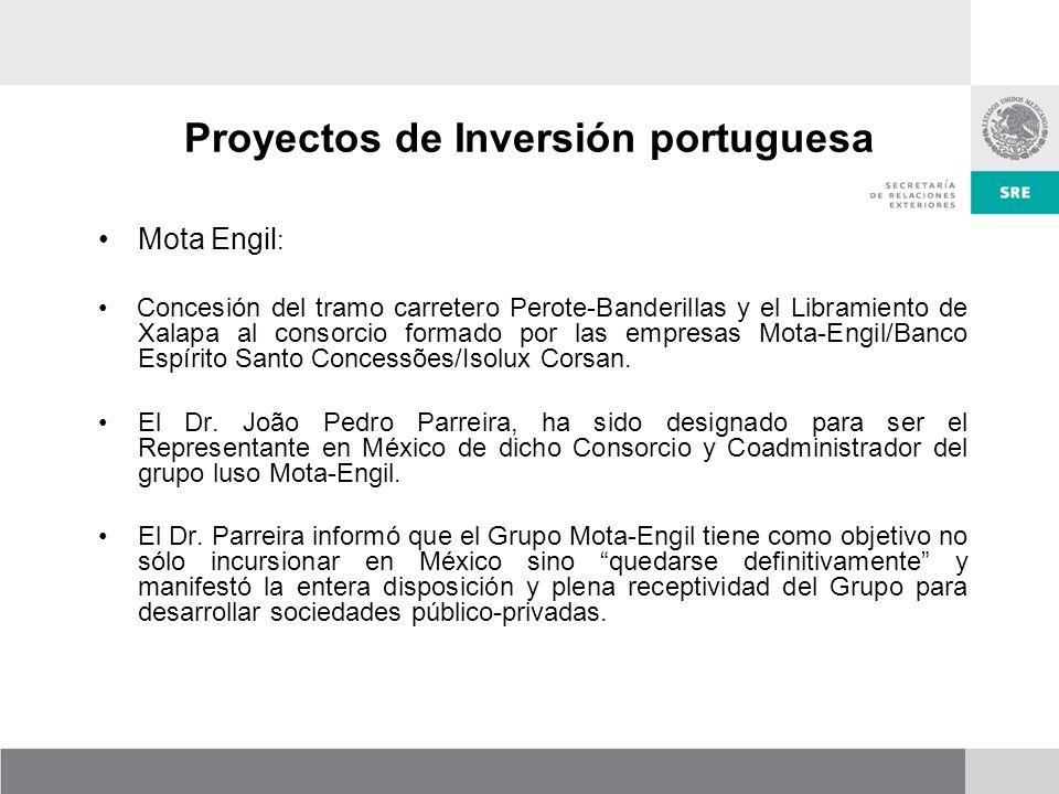Proyectos de Inversión portuguesa Mota Engil : Concesión del tramo carretero Perote-Banderillas y el Libramiento de Xalapa al consorcio formado por las empresas Mota-Engil/Banco Espírito Santo Concessões/Isolux Corsan.