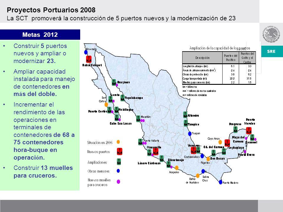 Construir 5 puertos nuevos y ampliar o modernizar 23.