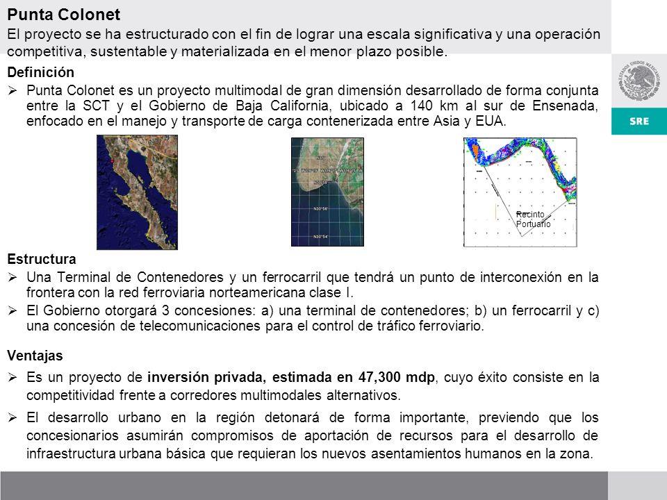 Definición Punta Colonet es un proyecto multimodal de gran dimensión desarrollado de forma conjunta entre la SCT y el Gobierno de Baja California, ubicado a 140 km al sur de Ensenada, enfocado en el manejo y transporte de carga contenerizada entre Asia y EUA.