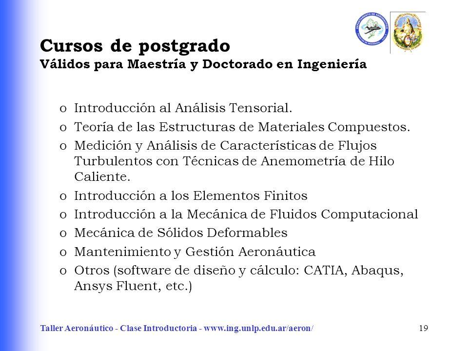 Taller Aeronáutico - Clase Introductoria - www.ing.unlp.edu.ar/aeron/19 Cursos de postgrado Válidos para Maestría y Doctorado en Ingeniería oIntroducc