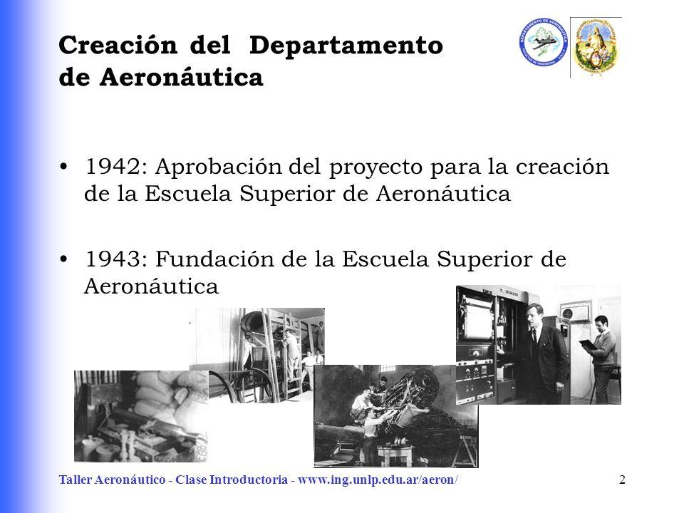 Taller Aeronáutico - Clase Introductoria - www.ing.unlp.edu.ar/aeron/2 Creación del Departamento de Aeronáutica 1942: Aprobación del proyecto para la creación de la Escuela Superior de Aeronáutica 1943: Fundación de la Escuela Superior de Aeronáutica