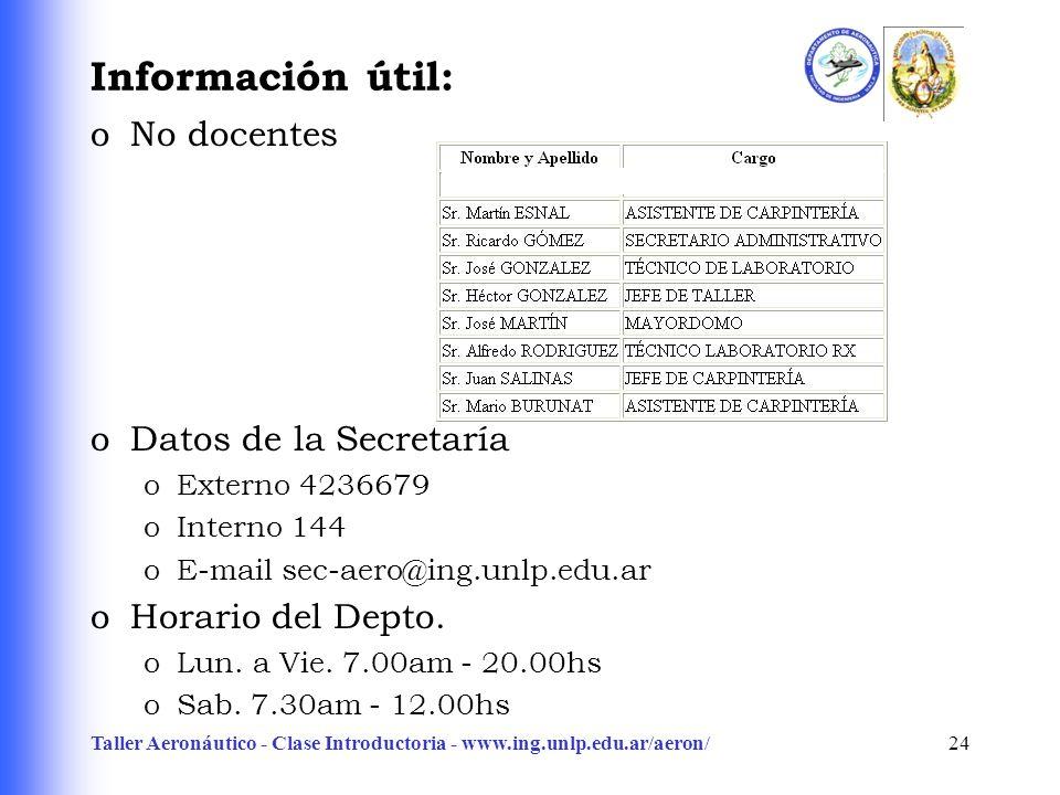 Taller Aeronáutico - Clase Introductoria - www.ing.unlp.edu.ar/aeron/24 Información útil: oNo docentes oDatos de la Secretaría oExterno 4236679 oInter
