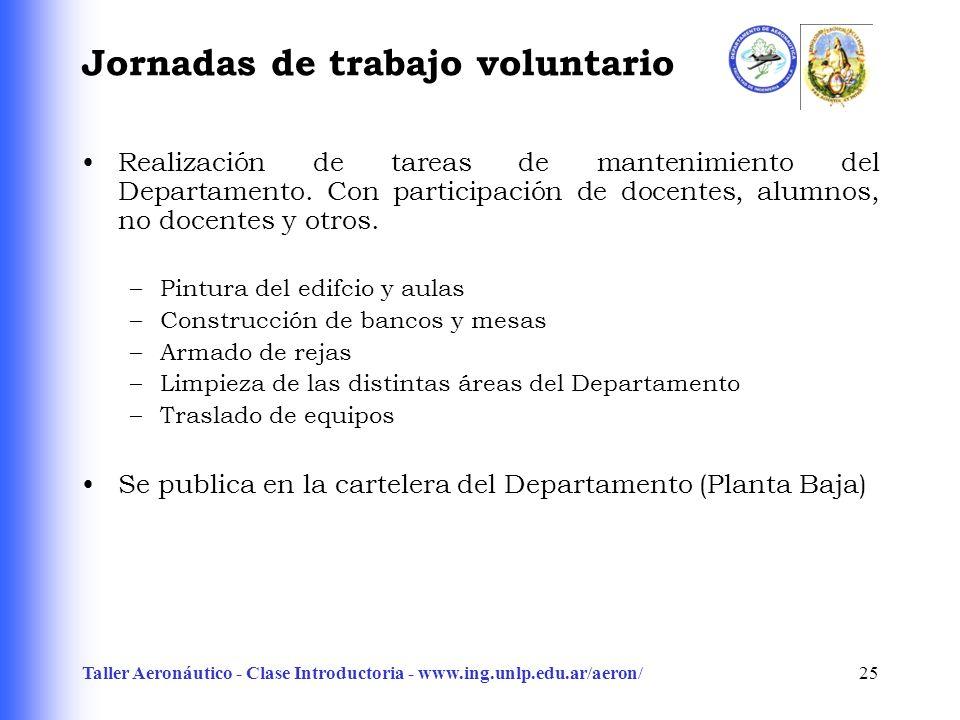 Taller Aeronáutico - Clase Introductoria - www.ing.unlp.edu.ar/aeron/25 Jornadas de trabajo voluntario Realización de tareas de mantenimiento del Departamento.