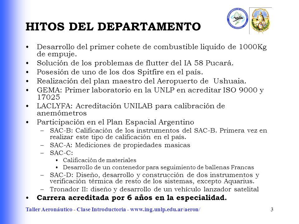 Taller Aeronáutico - Clase Introductoria - www.ing.unlp.edu.ar/aeron/3 HITOS DEL DEPARTAMENTO Desarrollo del primer cohete de combustible liquido de 1000Kg de empuje.