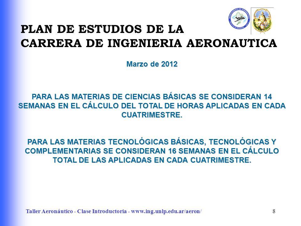 Taller Aeronáutico - Clase Introductoria - www.ing.unlp.edu.ar/aeron/8 PARA LAS MATERIAS DE CIENCIAS BÁSICAS SE CONSIDERAN 14 SEMANAS EN EL CÁLCULO DEL TOTAL DE HORAS APLICADAS EN CADA CUATRIMESTRE.