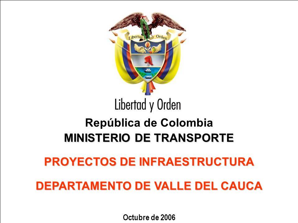 República de Colombia MINISTERIO DE TRANSPORTE PROYECTOS DE INFRAESTRUCTURA DEPARTAMENTO DE VALLE DEL CAUCA Octubre de 2006