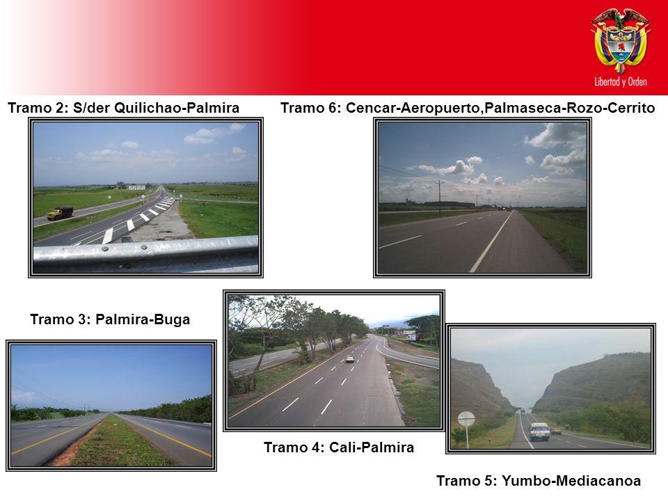 Tramo 2: S/der Quilichao-Palmira Tramo 3: Palmira-Buga Tramo 4: Cali-Palmira Tramo 5: Yumbo-Mediacanoa Tramo 6: Cencar-Aeropuerto,Palmaseca-Rozo-Cerrito