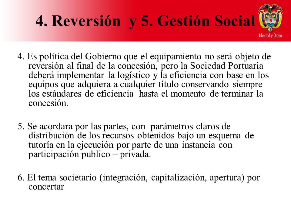 4. Reversión y 5. Gestión Social 4.